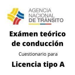 examen teorico conduccion cuestionario licencia tipo A