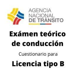 examen teorico de conduccion cuestionario Licencia tipo B